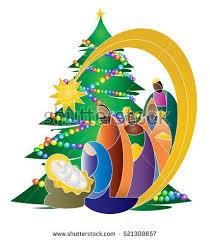 christmas nativity religious bethlehem crib scene stock vector