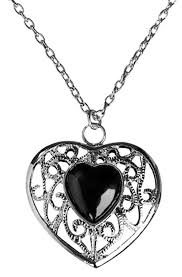 black heart necklace images Silver and black heart costume necklace costume craze jpg