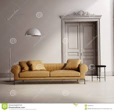 Classic Living Room by Contemporary Classic Living Room Beige Leather Sofa Royalty Free