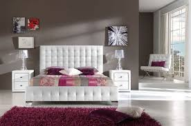tufted headboard white leather upholstered bed on chrome legs new