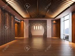 empty oriental design style interior of a residence or office