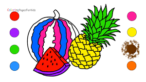 how to draw watermelon pineapple fruits coloring pages for kids