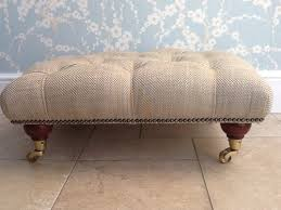 Laura Ashley Sofas Ebay Deep Buttoned Footstool In Laura Ashley Dalton Natural Fabric