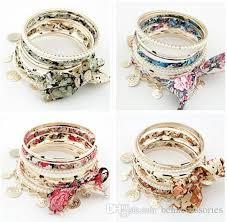bracelet sets wholesale alloy fabric bangles bracelets fashion elastic bangles