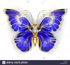 luxury jewelry gold butterfly with blue sapphire wings on a