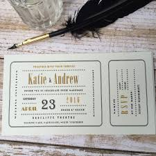 ticket wedding invitations cinema ticket wedding invitations wagtail designs