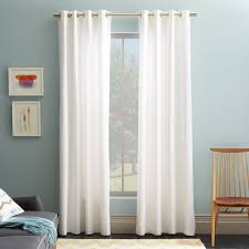 White And Brown Curtains Cotton Canvas Grommet Curtain White West Elm