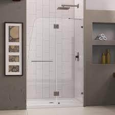 glass shower door hinge dreamline aqualux 46 in frameless hinged shower door clear 5 16