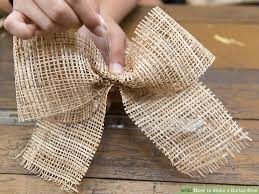 burlap ribbon bow 3 ways to make a burlap bow wikihow