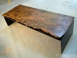 Stained Coffee Table Burled Stained Maple Coffee Table On Bent Steel Leg Bjorling Grant