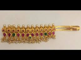 gold hair accessories top beautiful jewellery handmade hair clip designs south indian