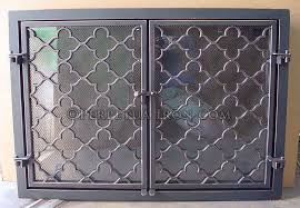 perpetua iron fire screens custom made to fit your fireplace pertaining to cast iron fireplace doors