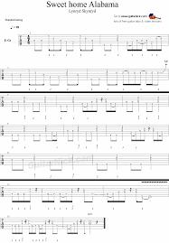 sweet home alabama lynyrd skynyrd guitar tablature music