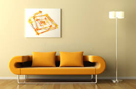 orange couch lamp and picture stock illustration illustration