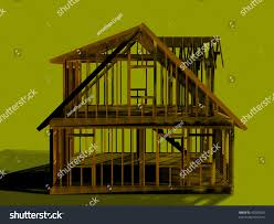 render of a cape style house frame left view stock photo 45203569