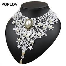 white lace choker necklace images Poplov vintage black white lace choker necklace charm ribbon jpg