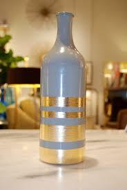 Diy Wine Bottle Vases Home Decor Diy Gold Leaf Bottles Blissfully Domestic