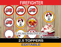 firefighter cupcake toppers firefighter cupcake toppers firetruck party decor instant