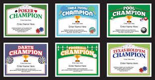 basement games certificates templates darts pool poker