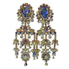 Aurora Chandelier Outrageous 80s Aurora Borealis Chandelier Rhinestone Earrings At