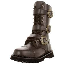 brown leather mens sizing combat boots gothic steampunk boots