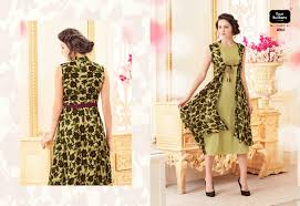 fancy casual verve kurti four buttons printed rayon fabric fancy casual wear