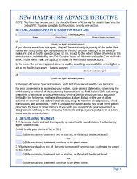 Living Will And Medical Power Of Attorney by New Hampshire Medical Power Of Attorney Form Power Of Attorney
