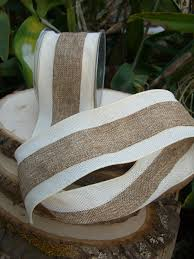 burlap wired ribbon ribbon white and ivory 3in x 10 yds