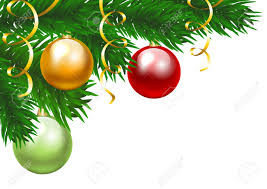 christmas tree branch with three colorful baubles clip art