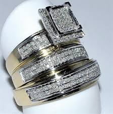 his and hers wedding rings cheap his wedding rings set trio men women 10k yellow gold