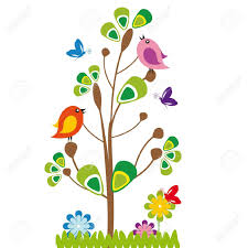 cute kids cartoon with tree and birds royalty free cliparts