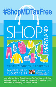 maryland tax free shopping week visit atc