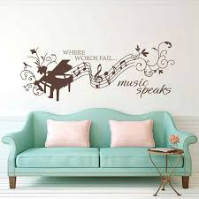 Music Note Wall Decor Battoo Music Wall Decal Quotes Where Words Fail Music Speaks Wall