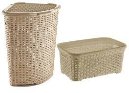 Wicker Clothes Hamper With Lid Amazon Com Rattan Wicker Style Laundry Set Corner Hamper And