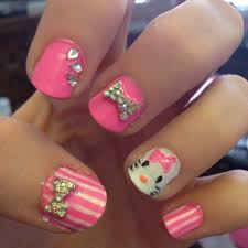 64 best beauty nail art hello kitty nails images on pinterest