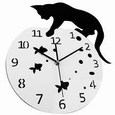 3d home decor acrylic wall clock cat and fish design big watch