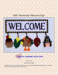 november welcome sign plastic canvas kits