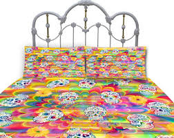 Day Of The Dead Bedding Skull Bedding Sugar Skull Comforter Or Duvet Cover Day Of The