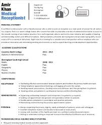 Resume Template For Medical Receptionist Receptionist Resume Sample 8 Examples In Word Pdf