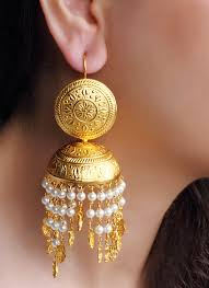 jhumkas earrings dhani engraved pearl jhumkas shop earrings at