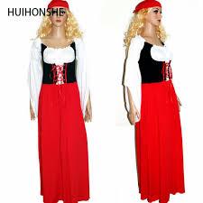 huihonshe new plus size long red oktoberfest beer maid peasant