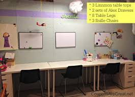 Craft Room Tables - my ikea craft room turned an unfinished basement into a beautiful