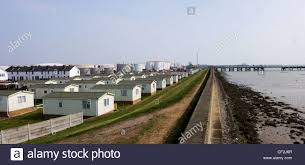Chalet Homes A Panoramic View Of Chalet Homes Alongside The Sea Wall On Canvey