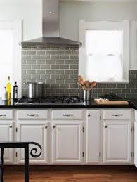 Cool BlueGray Kitchen A Backsplash Of Bluegray Metro Subway Tile - Grey subway tile backsplash