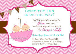 umbrella twins baby shower invitation chevron twins shower