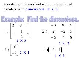 How To Read Dimensions Ch 12 Vocabulary 1 Matrix 2 Element 3 Scalar 4 Scalar