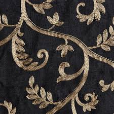 Black And Gold Curtain Fabric Macire Curtain Panel Available In Black Color With Gold Embroidery
