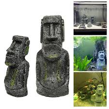 2pcs aquarium easter island building fish tank decoration wholesale