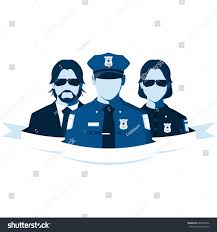 group police officers isolated on white stock illustration