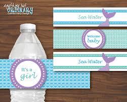 mermaid water bottle labels diy mermaid baby shower labels